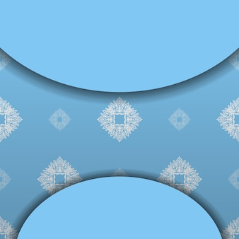 Modèle de bannière bleu avec motif blanc grec et espace pour votre logo