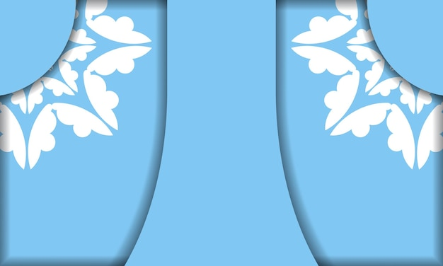 Modèle de bannière bleue avec ornement blanc vintage et espace pour votre texte