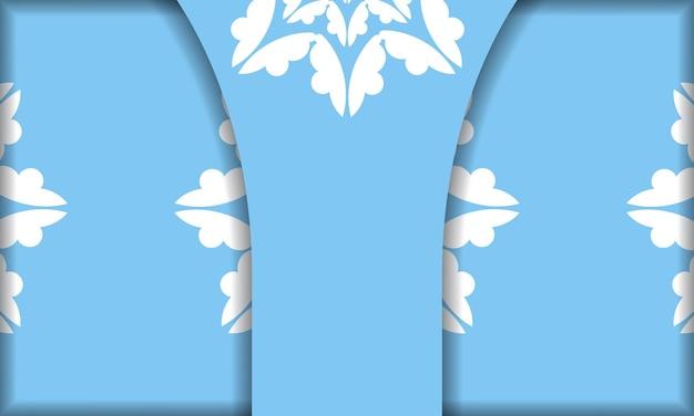 Modèle de bannière bleue avec ornements blancs antiques et espace pour votre texte