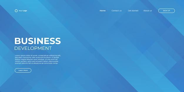 Modèle de bannière bleue de page de destination. illustration 3d abstrait, concept d'interface de technologie d'entreprise. conception de mise en page vectorielle.