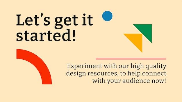 Modèle de bannière de blog modifiable inspiré du bauhaus plat