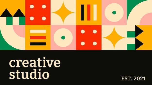 Modèle de bannière de blog modifiable vecteur bauhaus inspiré texte de studio créatif design plat
