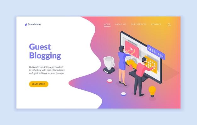 Modèle de bannière de blogging invité