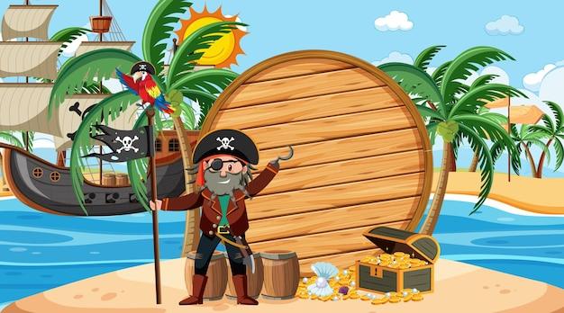 Modèle de bannière en bois vide avec capitaine pirate sur la scène diurne de la plage