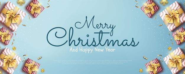 Modèle de bannière de bonne année et joyeux noël avec décoration festive