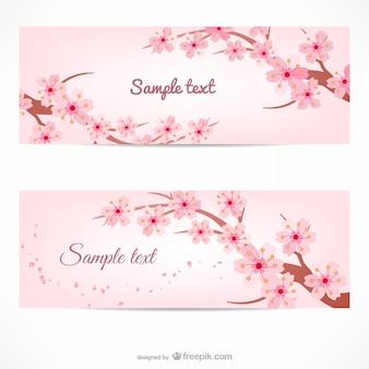Modèle de bannière avec des branches de cerisier