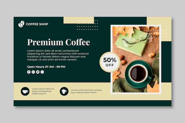 Modèle de bannière de café premium