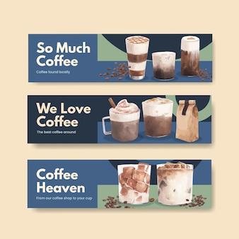 Modèle de bannière avec café