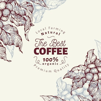 Modèle de bannière de caféier. illustration vectorielle fond de café rétro.