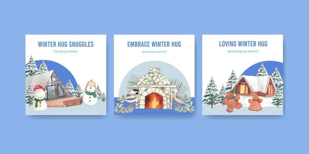 Modèle de bannière avec câlin d'hiver dans un style aquarelle