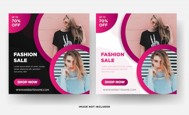 Modèle de bannière carré instagram, promotion de la mode
