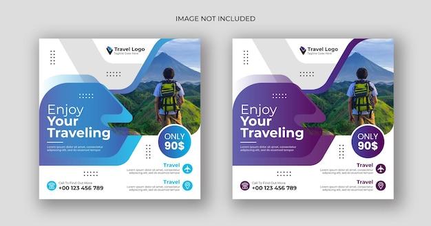 Modèle de bannière carrée pour les médias sociaux de voyage vecteur premium