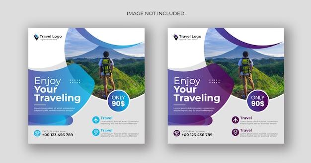 Modèle de bannière carrée pour les médias sociaux de voyage