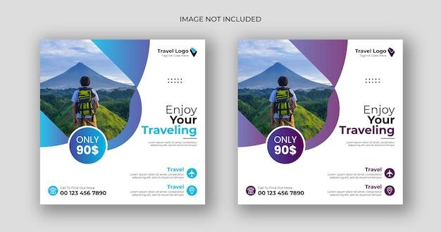 Modèle de bannière carrée de publication de médias sociaux de voyage