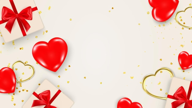 Modèle de bannière ou de carte saint valentin avec des éléments décoratifs