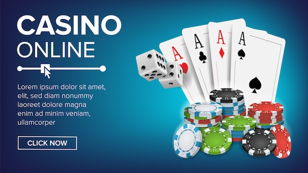 Modèle de bannière casino poker design