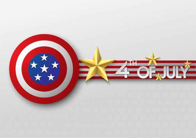 Modèle de bannière célébration étoile d'or et bouclier de la fête de l'indépendance usa
