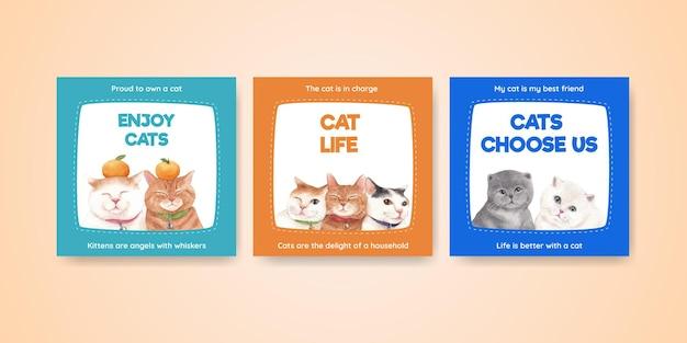 Modèle de bannière avec chat mignon dans un style aquarelle