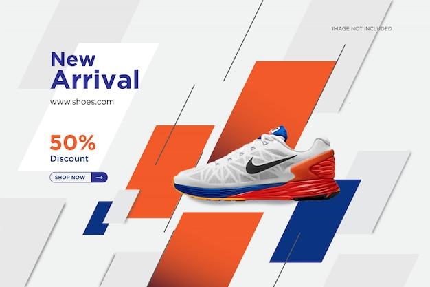 Modèle de bannière chaussures nouvelle arrivée poste social design
