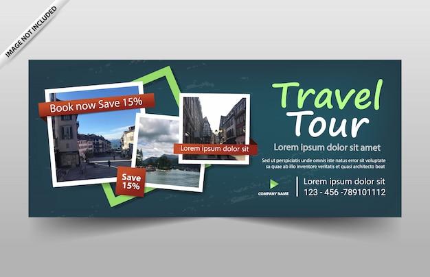 Modèle de bannière de circuit de voyage pour site web et coupon