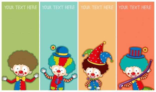 Modèle de bannière avec des clowns heureux