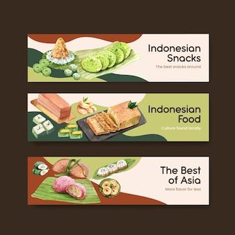 Modèle de bannière avec collation indonésienne