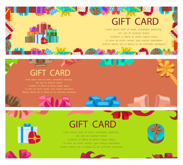 Modèle de bannière colorée de carte-cadeau avec des cadres et des boîtes