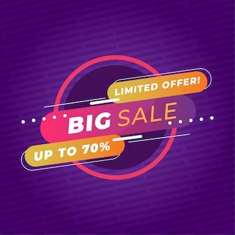 Modèle de bannière colorée grande vente promotion premium vector