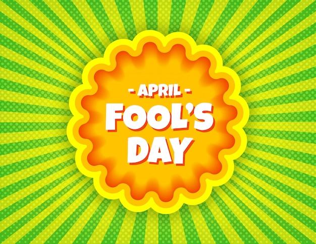 Modèle de bannière comique pop art du poisson d'avril.