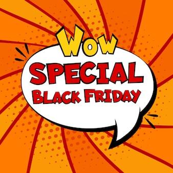 Modèle de bannière comique de vente vendredi noir. pop art
