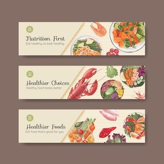 Modèle de bannière avec concept d'alimentation saine, style aquarelle