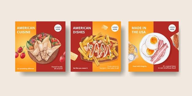 Modèle de bannière avec concept d'aliments américains, style aquarelle