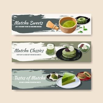 Modèle de bannière avec concept de bonbons matcha, style aquarelle