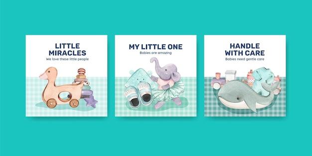 Modèle de bannière avec concept bonjour bébé
