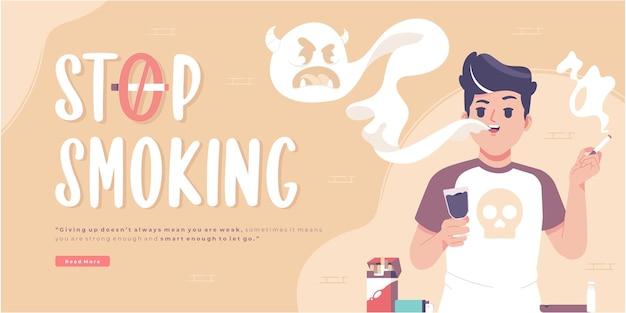 Modèle de bannière de concept de campagne d'arrêt de fumer
