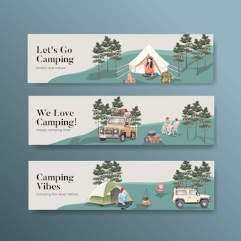 Modèle de bannière avec concept de campeur heureux