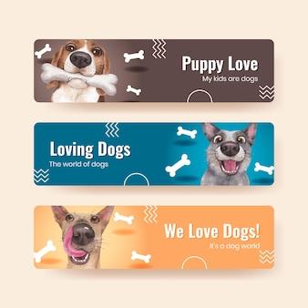 Modèle de bannière avec concept de chien mignon, style aquarelle