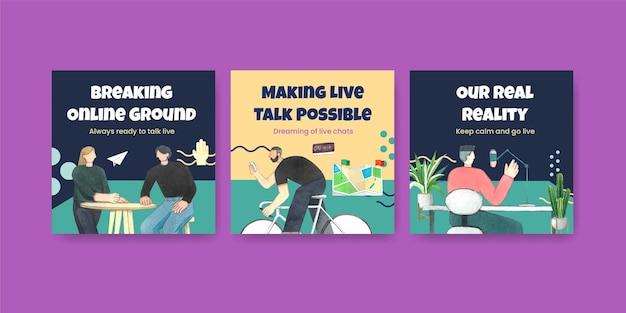 Modèle de bannière avec concept de conversation en direct