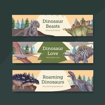 Modèle de bannière avec concept de dinosaure, style aquarelle