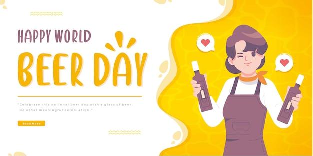 Modèle de bannière de concept de jour de bière heureux dessiné à la main