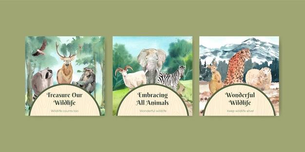 Modèle de bannière avec le concept de la journée mondiale des animaux dans un style aquarelle