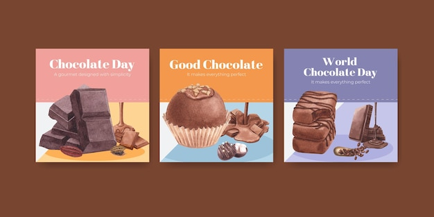 Modèle de bannière avec le concept de la journée mondiale du chocolat