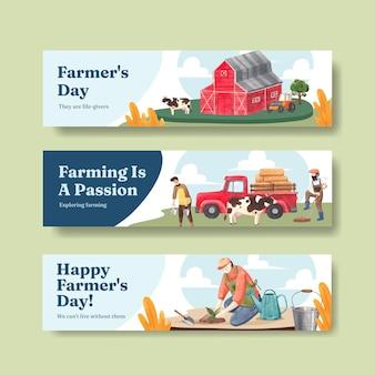 Modèle de bannière avec le concept de la journée nationale des agriculteurs, style aquarelle