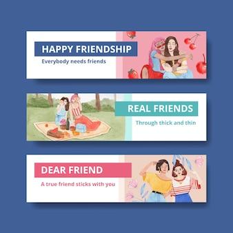 Modèle de bannière avec le concept de la journée nationale de l'amitié, style aquarelle