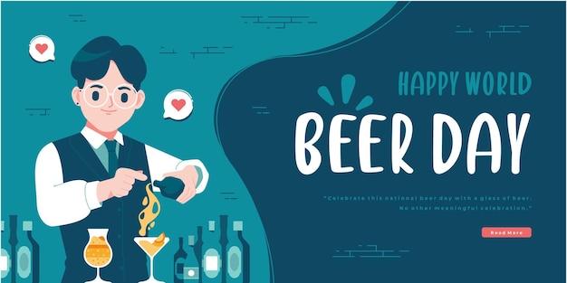Modèle de bannière de concept de personnage de barman joyeux jour de la bière