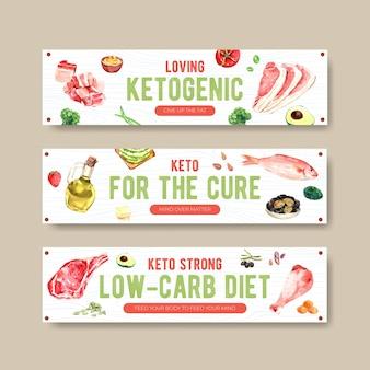 Modèle de bannière avec concept de régime cétogène pour la publicité et le marketing illustration aquarelle.