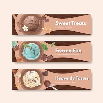 Modèle de bannière avec concept de saveur de crème glacée, style aquarelle