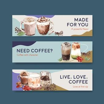 Modèle de bannière avec concept de style café coréen pour la publicité et le marketing aquarelle