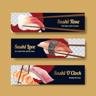 Modèle de bannière avec concept de sushi premium, style aquarelle