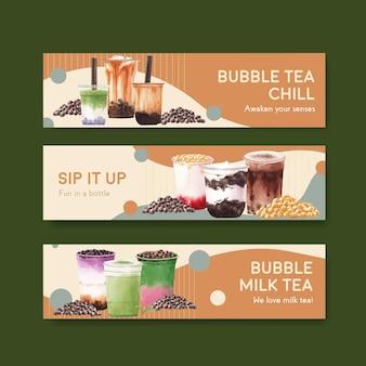 Modèle de bannière avec concept de thé au lait à bulles